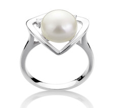 PearlsOnly - Katie Heart White 9-10mm AA Quality Freshwater 925 Sterling Silver Cultured Pearl Ring
