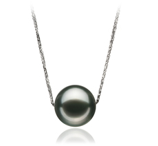 12-13mm AA Quality Tahitian Cultured Pearl Pendant in Kristine Black