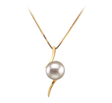 PearlsOnly - Lanella White 6-7mm AA Quality Japanese Akoya 14K Yellow Gold Cultured Pearl Pendant