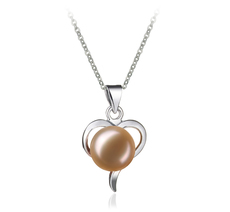 PearlsOnly - Leeza Pink 9-10mm AA Quality Freshwater White Bronze Cultured Pearl Pendant