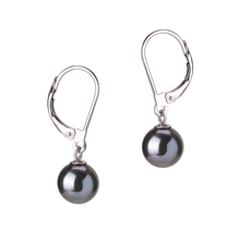 PearlsOnly - Marcella Black 7-8mm AAAA Quality Freshwater Cultured Pearl Earring Pair Pearl Earring Set