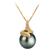 12.5-13mm AAA Quality Tahitian Cultured Pearl Pendant in Mina Black
