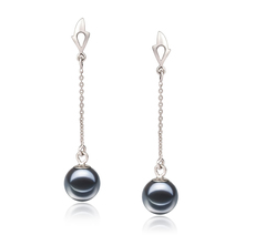6-7mm AAAA Quality Freshwater Cultured Pearl Earring Pair in Misha Black