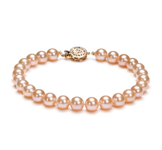 PearlsOnly - Pink 6-6.5mm AAAA Quality Freshwater 14K Yellow Gold Cultured Pearl Bracelet