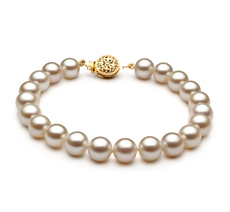 PearlsOnly - White 7-8mm AAAA Quality Freshwater 14K Yellow Gold Cultured Pearl Bracelet
