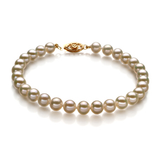 PearlsOnly - White 5.5-6mm AAA Quality Freshwater 10K Yellow Gold Cultured Pearl Bracelet