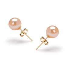 Pink 6-7mm AAAA Quality Freshwater Cultured Pearl Earring Pair Pearl Earring Set