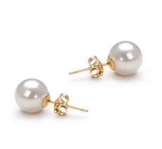 PearlsOnly - White 7-8mm AAAA Quality Freshwater Cultured Pearl Earring Pair Pearl Earring Set