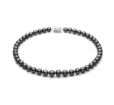 9-10.5mm AA+ Quality Tahitian Cultured Pearl Necklace in Black