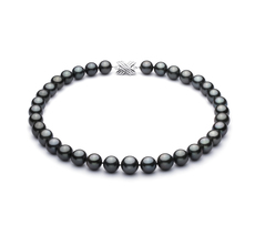11.1-12.8mm AAA Quality Tahitian Cultured Pearl Necklace in Black