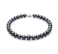 PearlsOnly - Black 13.1-16mm AAA+ Quality Tahitian 14K White Gold Cultured Pearl Necklace