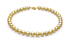 Gold 10.89-12.75mm AAA Quality South Sea 14K Yellow Gold Pearl Necklace