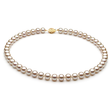 White 7-8mm AAA Quality Freshwater 14K Yellow Gold Cultured Pearl Necklace