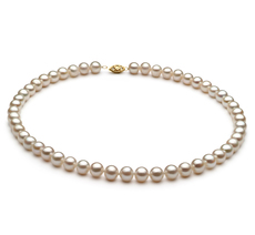 White 6.5-7.5mm AA Quality Freshwater Alloy Pearl Necklace