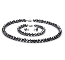 PearlsOnly - Black 6-7mm AA Quality Freshwater 925 Sterling Silver Cultured Pearl Set