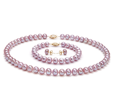 Lavender 7-8mm AA Quality Freshwater Cultured Pearl Set