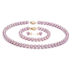 Lavender 6-6.5mm AAAA Quality Freshwater 14K Yellow Gold Cultured Pearl Set