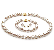 White 7-8mm AAA Quality Freshwater Cultured Pearl Set