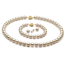 PearlsOnly - White 7-8mm AAAA Quality Freshwater 14K Yellow Gold Cultured Pearl Set