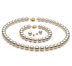 White 8.5-9mm AAA Quality Japanese Akoya Cultured Pearl Set