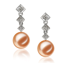 Rozene Pink 9-10mm AAAA Quality Freshwater 14K White Gold Cultured Pearl Earring Pair Pearl Earring Set