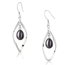 Sandy Black 7-8mm AA - Drop Quality Freshwater 925 Sterling Silver Cultured Pearl Earring Pair Pearl Earring Set