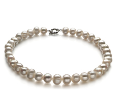 10-11mm A Quality Freshwater Cultured Pearl Necklace in Single White