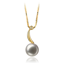 PearlsOnly - Sora White 8-9mm AAA Quality Japanese Akoya 18K Yellow Gold Cultured Pearl Pendant