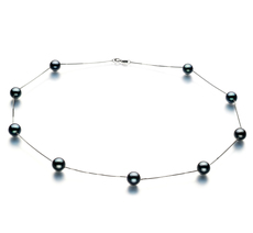 7-8mm AAA Quality Japanese Akoya Cultured Pearl Necklace in Tin Cup Black