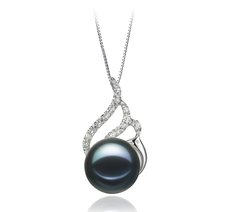 PearlsOnly - Tracy Black 12-13mm AA Quality Freshwater 925 Sterling Silver Cultured Pearl Pendant