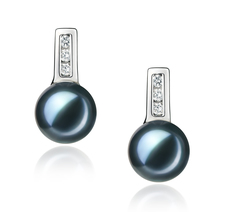 7-8mm AA Quality Japanese Akoya Cultured Pearl Earring Pair in Valery Black