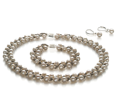 PearlsOnly - Weave White 6-7mm A Quality Freshwater Cultured Pearl Set