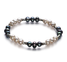 PearlsOnly - YinYang Black and White 6-7mm A Quality Freshwater Cultured Pearl Bracelet