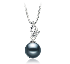 PearlsOnly - Zalina Black 7-8mm AA Quality Japanese Akoya 925 Sterling Silver Cultured Pearl Pendant